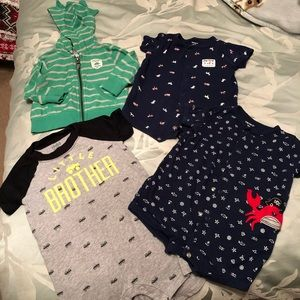 Lot of 3 6mo rompers and 6mo dinosaur jacket
